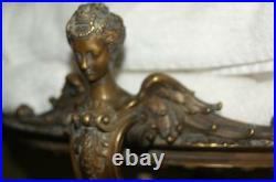 Lrg. Antique French Winged Lady Busts Bronze Centerpiece signed H. P