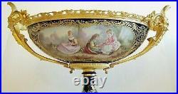 Lrg Exquisite 19C French Sevres H/P Porcelain Bronze Dore Centerpiece Bowl Sign