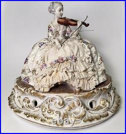 Luigi Fabris Large Porcelain Woman With Violin Dresden Lace Rare 305 Hand Signed