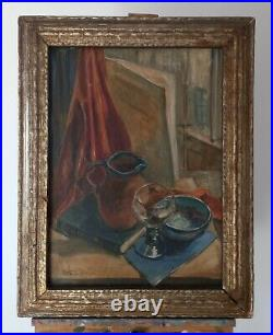 MID 20TH CENTURY VINTAGE 1950s LARGE STILL LIFE Oil Painting- Signed