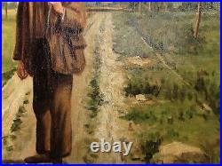 Man Country Lane Landscape PAINTING Oil Canvas Estate vintage art large