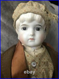 Margo Gregory Bisque Boy Doll 20 Signed M. Gregory Fabric Body Large! Germany