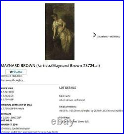 Maynard Brown Large Impressionist Fine Antique Oil Painting Portrait Lady Signed