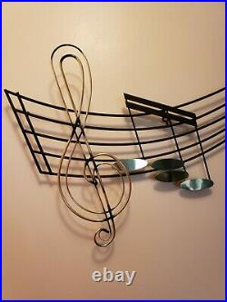 Mid Century Modern Curtis Jere Large Music Notes Wall Art Sculpture, Signed