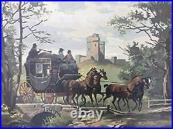 Mid Century Paint By Number Large Framed Painting Stagecoach To London Signed