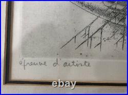 Mid Century Vintage Frame Art Artists Proof Mother Child French Sketch Large 23
