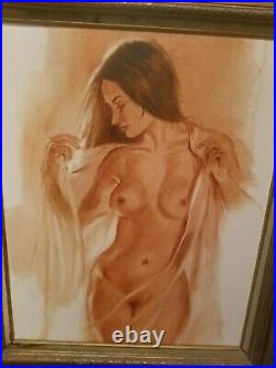 Nude Lazarte original Large painting vintage 1970s