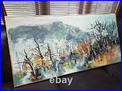 Oil on Canvas Signed Gilbert Wall Art Vintage Framed Large 48 Landscape