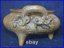 Old Large Signed Very Heavy Chinese Brass Bowl Incense Burner Dragons 2500 Gr