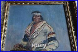 Old vintage painting of Native American chief with rifle, signed, large framed