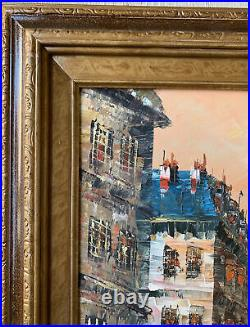 Original Signed Burnett Oil Painting Paris Notre Dame Framed Med/Larg