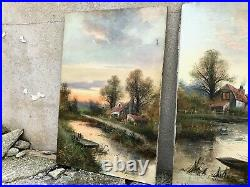 Pair of Large Antique Landscape Oil Paintings on Canvases Signed