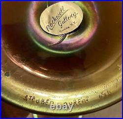 Pair of Large Signed Antique Steuben Art Glass Aurene Iridescent Candlesticks