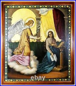 Pre-Raphaelite, Angel Saint Portrait Annunciation Large Antique Oil Painting