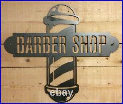Premium Barber Shop metal Sign Hand Finished Large Business Wall Art