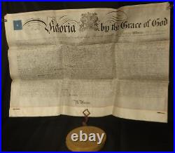 Queen Victoria Great Patent on a Very Large Vellum & Super Large Wax Seal 1874