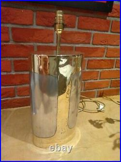 RARE David Marshall Signed 1985 large Brutalist brass aluminium cylindrical lamp