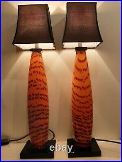 Rare Large Murano Signed Cenedese Tbale Lamps Tigre Pattern Glass MID Century