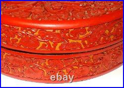 Rare Large Old Cinnabar Carved Fire Dragons Lacquer Box Signed By Maker