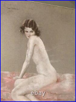Rare Original Large Antique Signed Provocative Illustration Painting Woman 20s
