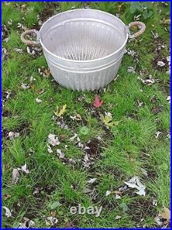 Rare Vintage Hall Bushel Basket Large Wash Tub Galvanized Metal Primitive Farm