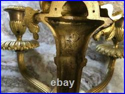 Set of 2 Antique Wall sconces STERLING BRONZE Louis French XVI ormolu fruit gold