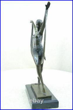 Signed Art Deco Nude Girl Dancer Fayral Bronze Statue Marble Base Figurine Large