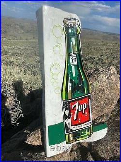 VERY LARGE Vintage Antique 7up Soda Cola Embossed Doublesided Bottle Flange Sign