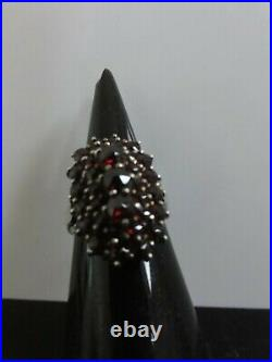 VICTORIAN FAB LARGE RING THREE LAYERS BOHEMIAN GARNET GOLD ON SILVER 900 Signed