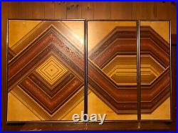 VTG Oil Painting Signed Letterman Triptych 3 Panel Geometric Art Abstract Large