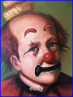 VTG Original Oil F. Dressen Clown Painting, Oddity Scary 30.5 X 27.5 Large