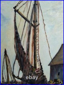VTG Original Oil Painting Large nautical Boats Dock Coastal Landscape Art Signed
