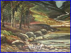 Very Large Antique Oil Painting On Canvas'' Mountains'' Signed By A. Reynolds