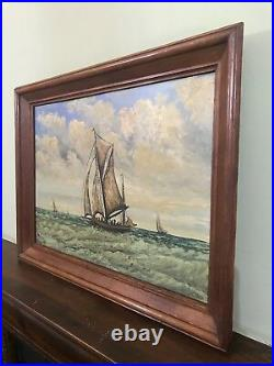 Very Large Old Vintage Oil Painting On Board Framed