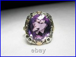 Victorian Vintage Signed 14K White Gold Tri Color Large Amethyst Ring Sz 5 8732