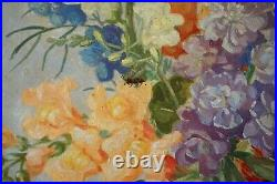 Vintage 1920s-30s Large Still Life Oil Painting On Wooden Panel, Flowers In Vase