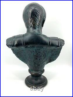Vintage 1974 Signed Large Julius Caesar Roman Emperor Plaster Bust Statue 24 T
