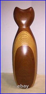 Vintage 1987 Large Signed Paul LaMontagne Studio Art Wood OWL Sculpture MCM