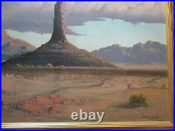 Vintage Antique Large Oil Painting American Desert Atmospheric Landscape Malloy