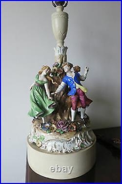 Vintage Dresden Von Schierholz Porcelain Figural Lamp Large Stunning Signed