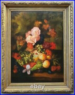 Vintage Fruit & Flowers Still Life Art LARGE Original Oil Painting in Gilt Frame