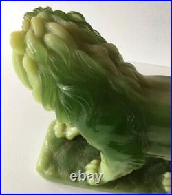 Vintage G. Ruggeri Jade Green Resin Large Lion Figure Sculpture