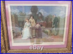 Vintage Large 30 Sydney Kendrick The Love Letter Ornate Gold Wood Frame #4934