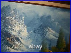 Vintage Large Autumn Mountain Stream Landscape Oil Painting Canvas Signed Simon