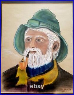 Vintage Large Cape Cod Sea Captain Fisherman Painting Art by S. Kerbaugh -'75