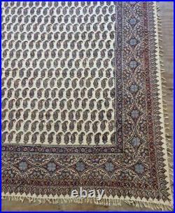 Vintage Large Is fahan Hand Block PrintedTextile Ghalamkar Signed