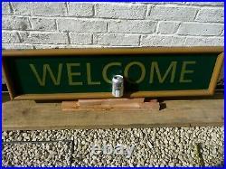 Vintage Large Metal WELCOME Sign-Hotel Pub Club Public Building Car Park 1990s