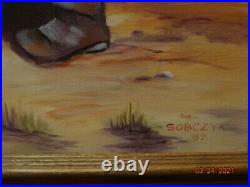Vintage Large oil painting Girl with gooses. Signed