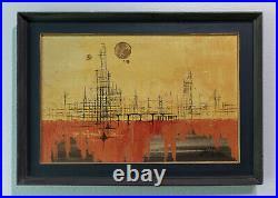 Vintage Mid Century Signed Oil Painting by Van Hoople Harbor Scene LARGE