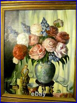 Vintage Oil Painting Still Life Large Assorted Flowers in Large Blue Vase c. 1940